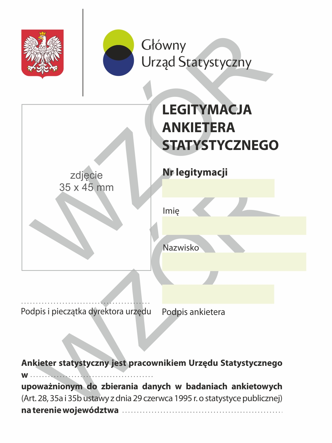 Wzór legitymacji ankietera uzupełniającego